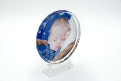 Cadre personnalisable en cristal rond avec socle