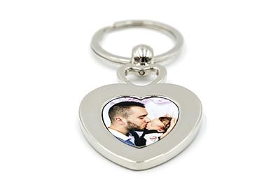 Porte-clés coeur avec accroche coeur en métal
