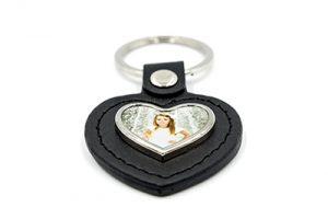 Porte-clés cœur cuir et métal