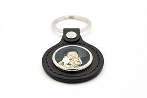 Porte-clés cercle en métal et cuir noir