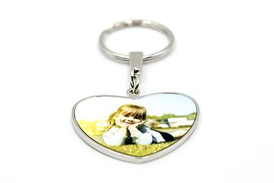 Porte clés métallique cœur double faces