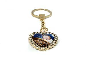 Porte-clés cœur en métal doré avec strass et cabochon en verre