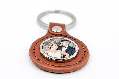 Porte-clés cercle cuir métal marron