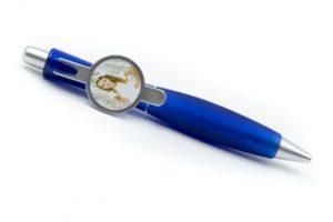 Stylo bleu personnalisable avec photo ou logo