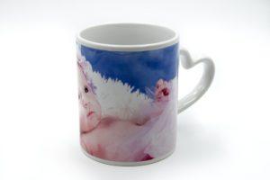 Mug personnalisé blanc anse cœur avec photo